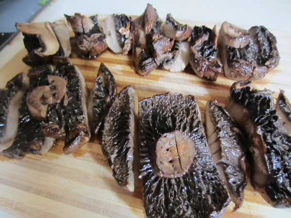The finished mushrooms. They were so good, I could've just had those for dinner. Forget the other stuff!