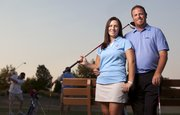 Besides an interest in each other, husband and wife Josh and Katy Nahm share an interest in teaching the game of golf. While Josh works as an instructor, Katy is an assistant coach on the Kansas University women's team.