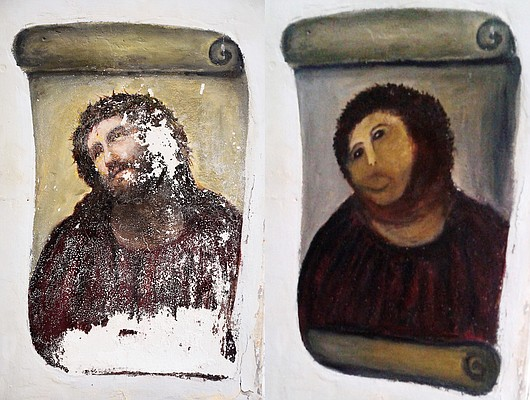 This combination of two undated handout photos made available by the Centro de estudios Borjanos shows the 20th century Ecce Homo-style fresco of Christ before (left) and after (right) an elderly amateur artist Celia Gimenez, 80, took it upon herself to restore it in the church of the northern Spanish agricultural town of Borja. The incident made national news and was an Internet trending topic Thursday Aug 23 2012 with some Twitter users dubbing it 'Ecce Mono', meaning 'Behold the Monkey' instead of 'Behold Man.'
