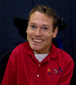 Austin Hanson is the No 1 rated boccia player in the Nation. He will compete in the 2012 London Paralympic Games September 5th. Photo by The Easter Seals