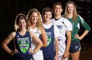 Bishop Seabury Academy seniors, from left, are Maddie McCaffrey, cross country, Emilie Padgett, tennis, Brandon McCaffrey, cross country, Fischer Almanza, football, and Courtney Hoag, volleyball.