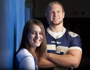 Veritas Christian School senior athletes Kristen Finger, volleyball, and Bryce Boland, football, hope to lead their teams during the upcoming fall sports season.