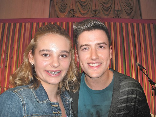 Rori Coyne, left, poses Monday with Logan Henderson, member of Big Time Rush, during the Kids' State Dinner at the White House. Rori's recipe for Yummy Cabbage Sloppy Joes earned her a seat at the lunch, hosted by first lady Michelle Obama. Uploaded