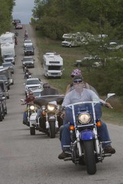 Hundreds of bikers descend on Paradise Point at Perry Lake on Friday for the 37th annual ABATE of Kansas Rally was held.