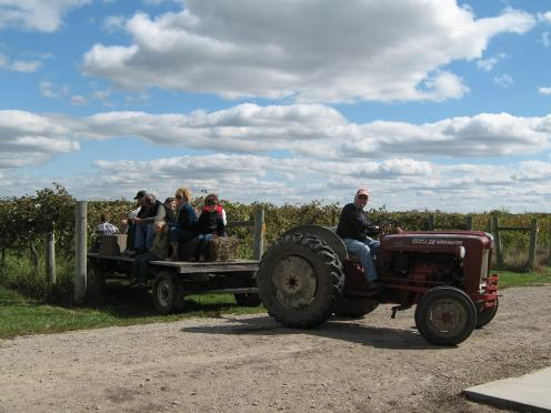 Visitors enjoy a hayrack ride during the Kaw Valley Farm Tour that takes place annually during the first full weekend in October.