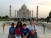 The Carr family poses in front of the Taj Maha