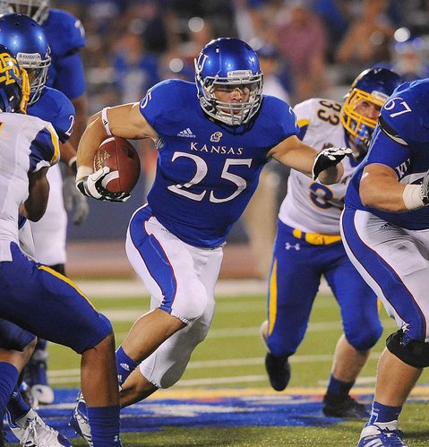 Kansas University running back Brandon Bourbon (25) rushes against South Dakota State on Sept. 1, 2012, at Memorial Stadium. Bourbon, a fourth-year junior, says he feels better than ever after an injury-riddled start to his KU career.