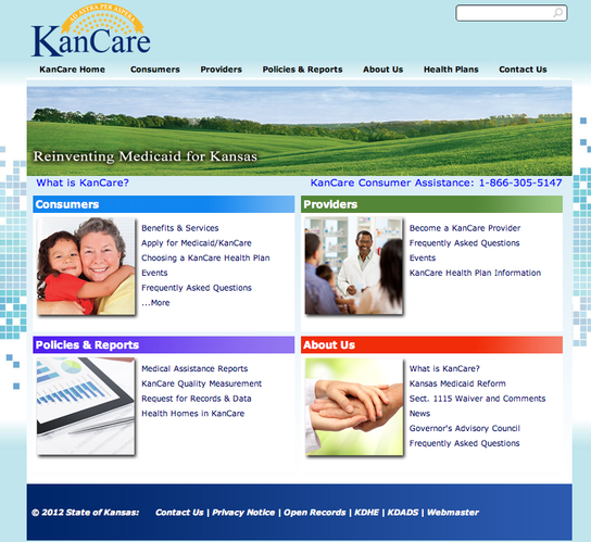 The state&#39;s new KanCare website. Uploaded