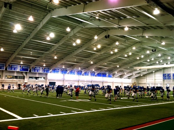Wednesday's KU football practice took place inside Anschutz Sports Pavilion instead of in the extreme heat outside.