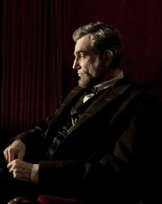 "Daniel Day-Lewis portrays Abraham Lincoln in the Steven Spielberg film ""Lincoln."""