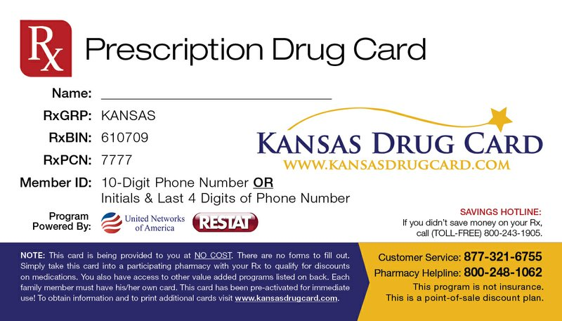 Here's what the Kansas Drug Card looks like.