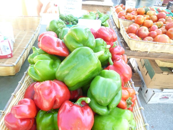 Avery's Produce peppers await roasting at Cottin's Hardware Farmers Market.