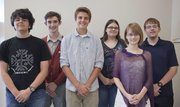 Free State High School's National Merit Scholars from left, Juan Torres Gavosto, National Hispanic Scholar; Adam Fales, Alexander Heath, Katherine Guyot, Caitlin Erickson and Andrei Elliott.