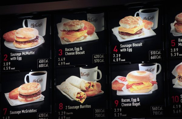 Items on the breakfast menu, including the calories, are posted at a McDonald&#39;s restaurant, Wednesday, Sept. 12, 2012 in New York.