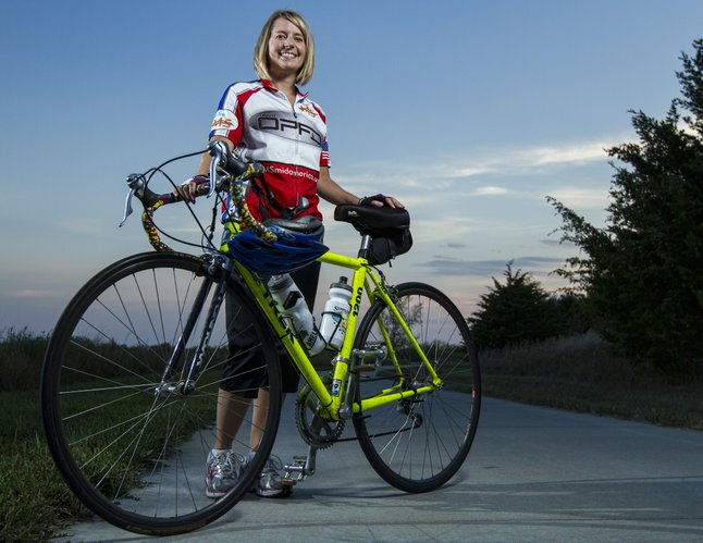 "Lawrence resident Valerie Hawley, 32, plans to participate in the ""Bike MS: Kansas City"" event, which is Sept. 22-23. Her goal is to ride 38 miles from Olathe to Lawrence to raise awareness about multiple sclerosis, which she was diagnosed with about one and a half years ago."
