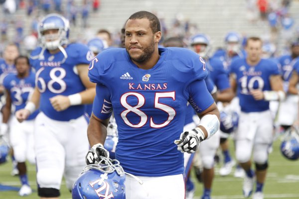Kansas tight end Trent Smiley (85) walks off the field following Kansas' loss to TCU Saturday, Sept. 15, 2012 at Memorial Stadium.