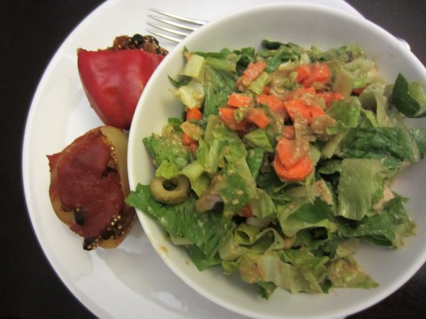 Stuffed peppers and salad made for a great dinner.