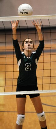 Bishop Seabury freshman Meghan McClorey sets up for a return against Barstow on Tuesday, Sept. 18, 2012.