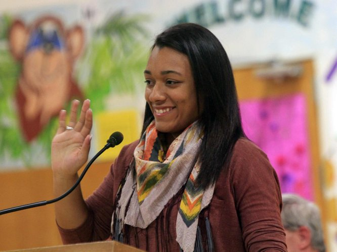Trei Dudley, waves to fellow Boys and Girls Club members as she headed to Washington DC last week,  where she was named National Youth of the Year.