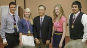 Student Champions from Free State and Lawrence High schools were honored at the Lawrence Schools Foundation 11th annual Community Education Breakfast on Friday at the Holidome. Pictured with Larry Kwak, who gave the keynote address, center, are from left, Antonio Schoneich, FHS, Emily McEntire, LHS, Kwak, Alexandra Wendt, FSH, and Frankie Esparza, LHS.