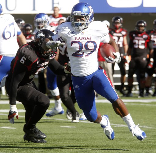 Kansas running back James Sims runs for a touchdown in the first half of KU's game against the Northern Illinois Huskies on Saturday at Huskie Stadium in DeKalb, Ill.
