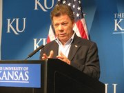 Colombian President Juan Manuel Santos on Monday returned for the first time to his alma mater Kansas University where he graduated in 1973.