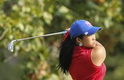 Kansas' Thanuttra Boonraksasat watches her drive on the seventh hole, Monday, Sept. 24, 2012, at Alvamar Golf and Country Club. Nick