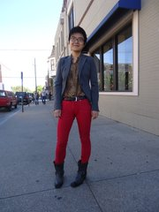Huan Rui. Clothing details: boots, Sharks, 1 year ago, $200; pants, Salvation Army, $5; shirt, Arizona Trading Company in Kansas City, 2 years ago, $10; blazer, BCBG, thrift store, 2 years ago, $10.