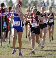 Kansas University's Devin Wiegers (217) nears the finish of the 6K run on Saturday at the Rim Rock Classic.