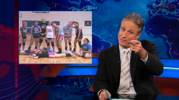 On Sept. 27, Daily Show host Jon Stewart lampooned last week&#39;s media coverage of the video made by Kansas students protesting the new school lunch standards.