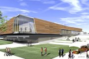 Rendering of the Lawrence Public Library, as seen from the southwest plaza.