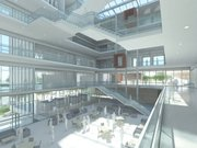This preliminary rendering from the architecture firm Perkins + Will shows a wide-open atrium area proposed for the inside of the new Kansas University School of Business building. The atrium would be designed to allow a maximum amount of natural light into the building's rooms and offices and reduce electricity use, said KU Business Dean Neeli Bendapudi.