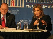 Democrat Tobias Schlingensiepen, a minister from Topeka, and Republican Lynn Jenkins, R-Topeka, debate Thursday in a forum at the Dole Institute.