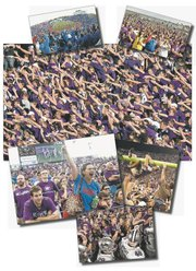 Though the Sunflower Showdown has seen some extremes even in just the past few years — like the then-record 51,821 fans in Memorial Stadium in 2006 (top left), to the turnout that dwindled to a mere handful at the end last season (top right) — one constant is the sea of purple (in 2009, main photo above) in Manhattan. 