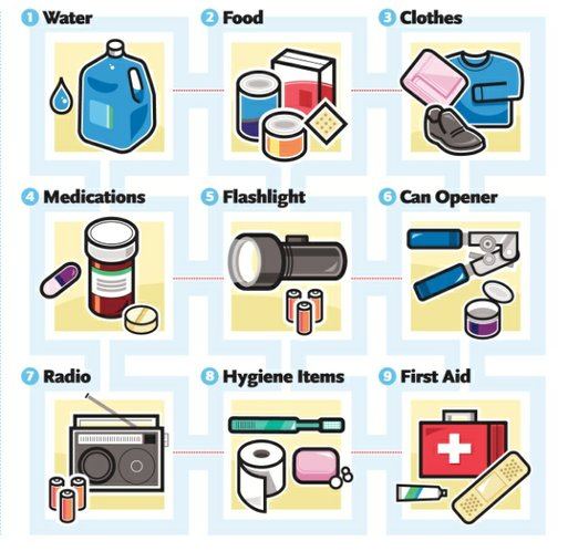 Emergency kit items for car