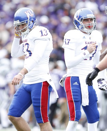 Kansas kicker Ron Doherty, left, bemoans a missed field goal against Kansas State during the second quarter on Saturday, Oct. 6, 2012 at Bill Snyder Family Stadium in Manhattan. At right is holder Blake Jablonski.