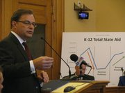 Kansas Policy Institute President Dave Trabert testifies on Monday to the Governor's Task Force on School Efficiency, which is charged with making recommendations to increase funds directly related to classroom instruction and reduce administrative expenses.