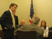 Lt. Gov. Jeff Colyer speaks Monday to members of the Governor's Task Force on School Efficiency during a lunch break. Colyer said getting more dollars into classroom instruction was an important issue.