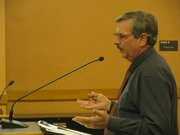 Richard Ziesenis, with the Lawrence-Douglas County Health Department, testifies Tuesday to the Legislative Budget Committee on the impact of losing state funds from the Local Environmental Protection Program.