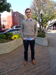 Zack McQuiston, Shawnee. Clothing details: shoes, DSW, August, $50; jeans, Gap, $110; shirt, Urban Outfitters, one year ago; sweater, J. Crew, a couple weeks ago, $100.