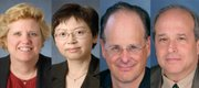 Four Kansas University professors were recognized with the Higuchi-KU Endowment Research Award, the state's highest honor for scholarly excellence. They are, from left, Susan Lunte, Ralph N. Adams Distinguished Professor of Chemistry; Judy Wu, University Distinguished Professor of Physics; Jonathan Mayhew, professor of Spanish, and Rolfe Mandel, professor of anthropology.