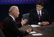 Vice President Joe Biden and Republican vice presidential nominee Paul Ryan of Wisconsin participate in the vice presidential debate at Centre College, Thursday, Oct. 11, 2012, in Danville, Ky. 