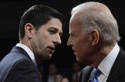 Vice President Joe Biden and Republican vice presidential nominee Rep. Paul Ryan of Wisconsin shake hands after the vice presidential debate at Centre College, Thursday, Oct. 11, 2012, in Danville, Ky. 
