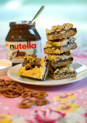 Pretzel-Nutella Bars with White Chocolate Chunks