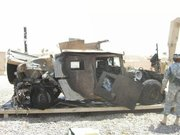 The Humvee Brent Whitten was in, taken by a soldier after it was towed back to a base in Baghdad after it was attacked in September 2006, is pictured.