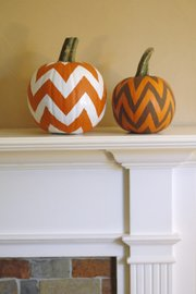 Chevron Pumpkins require paint, painter's tape and a pair of scissors.