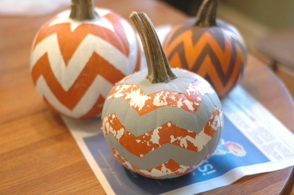 Can you spot the craft fail in this picture? This was supposed to be a gray-on-white Chevron Pumpkin, but sticking painter's tape onto the basecoat didn't really work out.