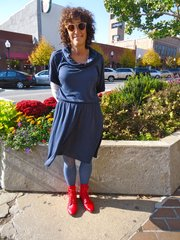 Clothing details: Dress, Marshalls, Velvet, this season, $16.99; tights, really old! I couldnt tell you where I got them or for how much; boots, a shop by the sea in Carmel, Calif., 2 weeks ago, full price.