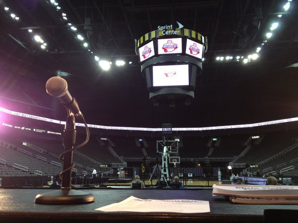 A view from the lead table at Big 12 men's basketball media days at Sprint Center in Kansas City, Mo.