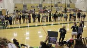 Seniors on the Free State volleyball team are recognized in a celebration before a match between Free State and Lawrence high schools at FSHS, Thursday, Oct. 18.  The Lions won the match 3-1.